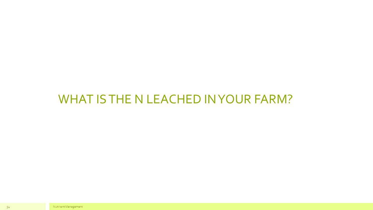WHAT IS THE N LEACHED IN YOUR FARM? Nutrient Management34
