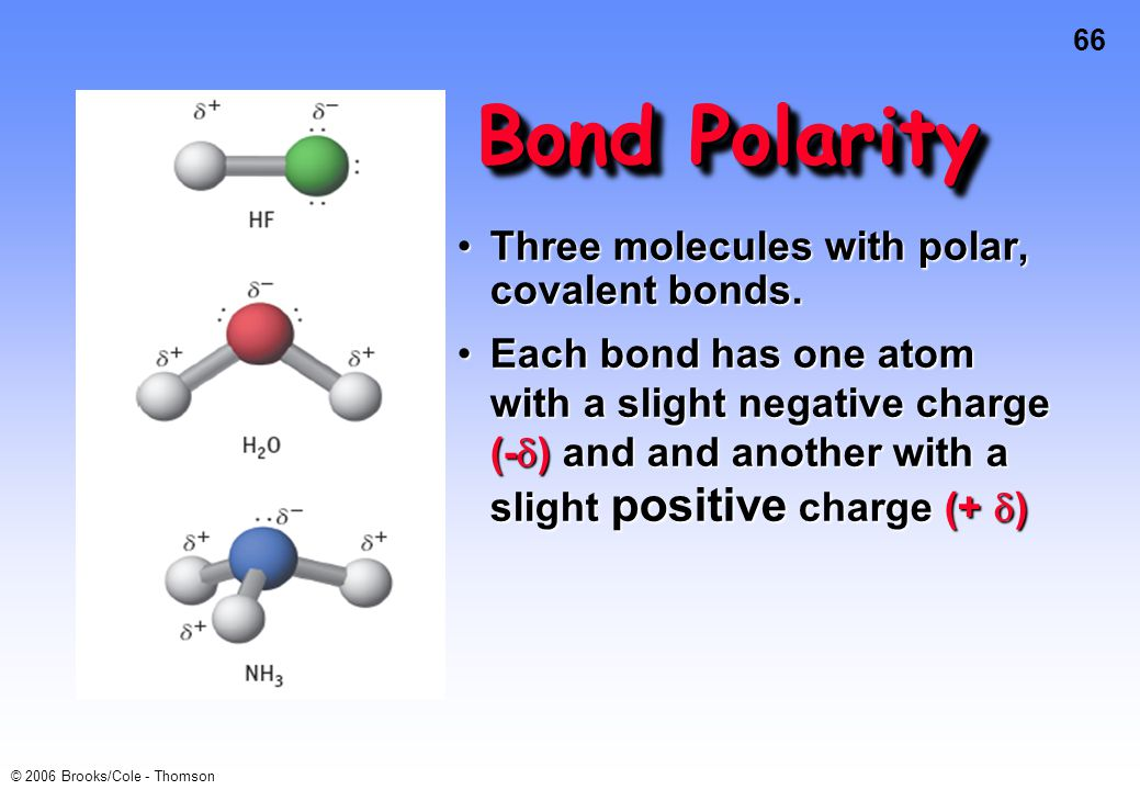66 © 2006 Brooks/Cole - Thomson Bond Polarity Three molecules with polar, covalent bonds.Three molecules with polar, covalent bonds. Each bond has one