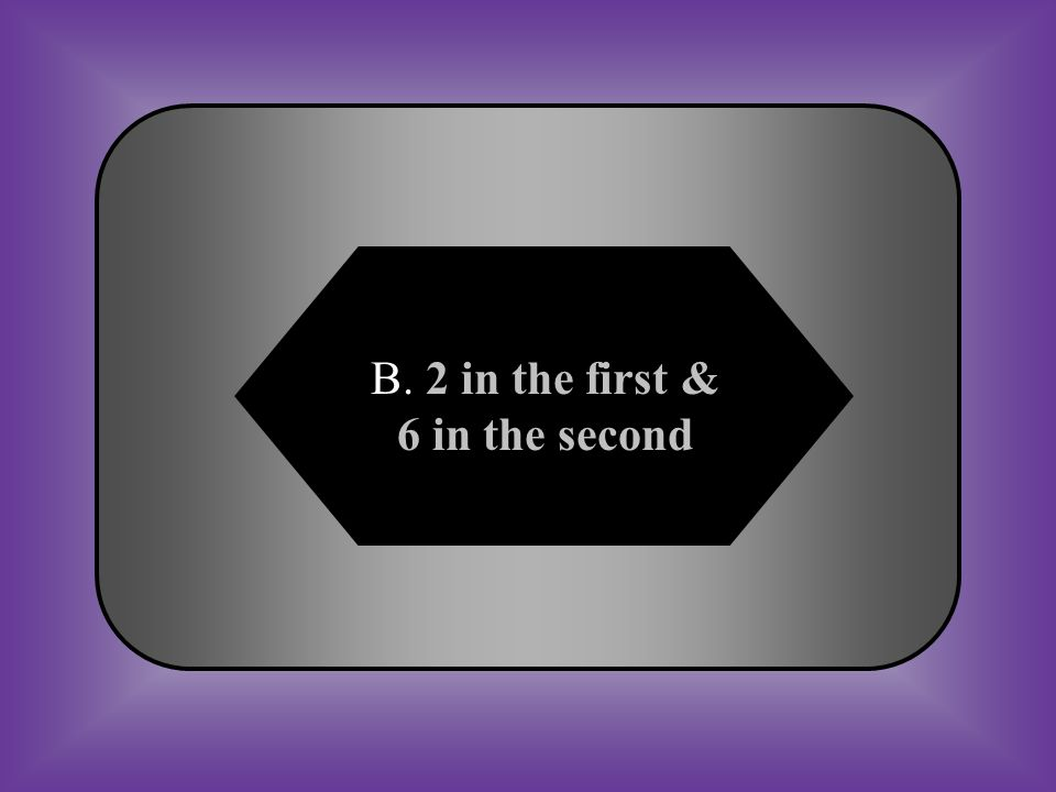 A:B: 1 in the first & 7 in the second 2 in the first & 6 in the second C:D: 3 in the first & 5 in the second 1 in the first & 7 in the second #18 A Bohr model of oxygen has… *8 protons *8 neutrons *8 electrons How many electrons are in the first & second energy level