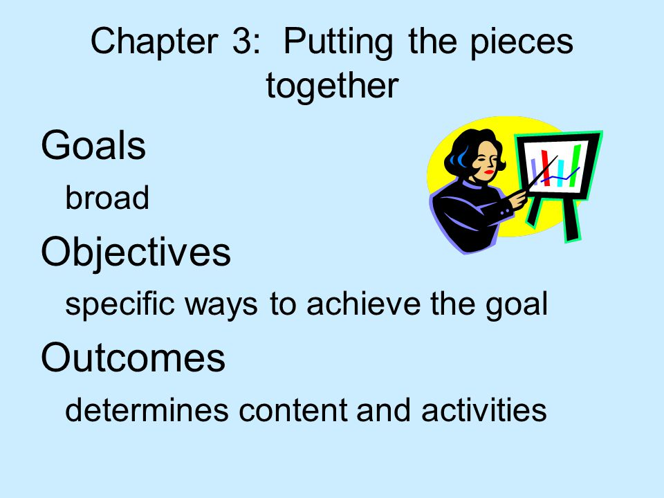 Chapter 3: Putting the pieces together Goals broad Objectives specific ways to achieve the goal Outcomes determines content and activities