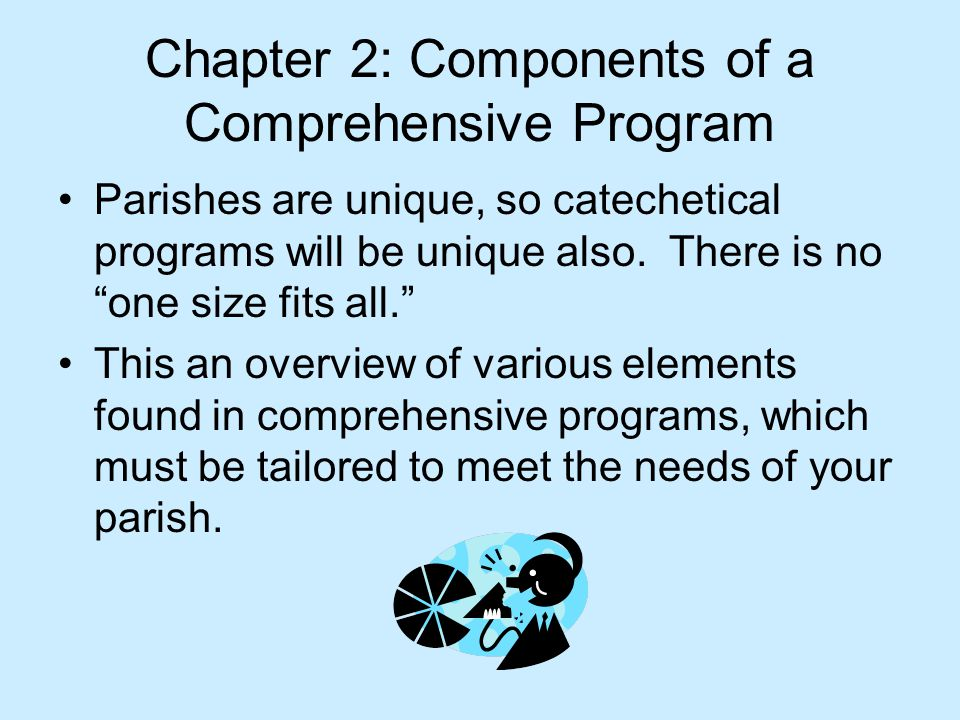 Chapter 2: Components of a Comprehensive Program Parishes are unique, so catechetical programs will be unique also.