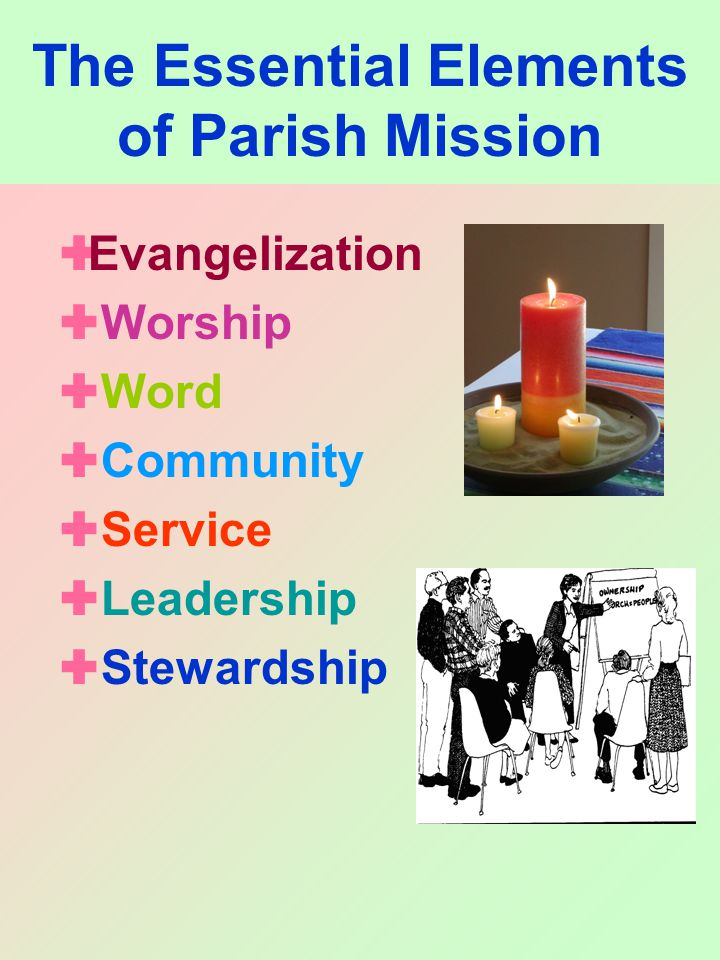 The Essential Elements of Parish Mission  Evangelization  Worship  Word  Community  Service  Leadership  Stewardship