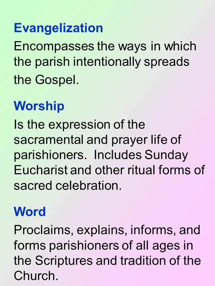 Evangelization Encompasses the ways in which the parish intentionally spreads the Gospel.