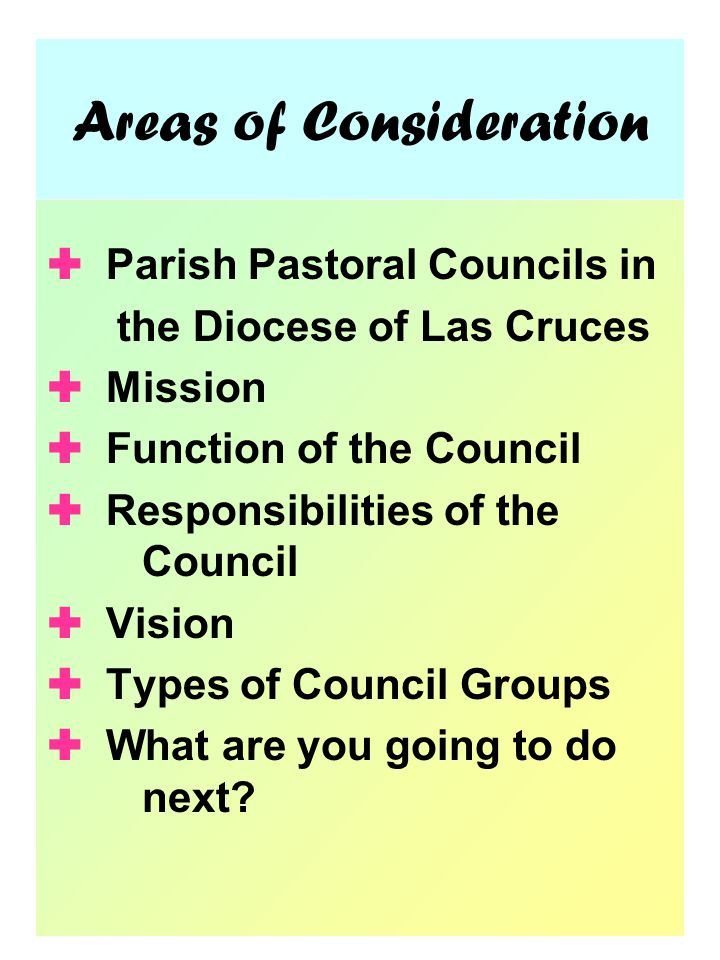 Areas of Consideration  Parish Pastoral Councils in the Diocese of Las Cruces  Mission  Function of the Council  Responsibilities of the Council  Vision  Types of Council Groups  What are you going to do next