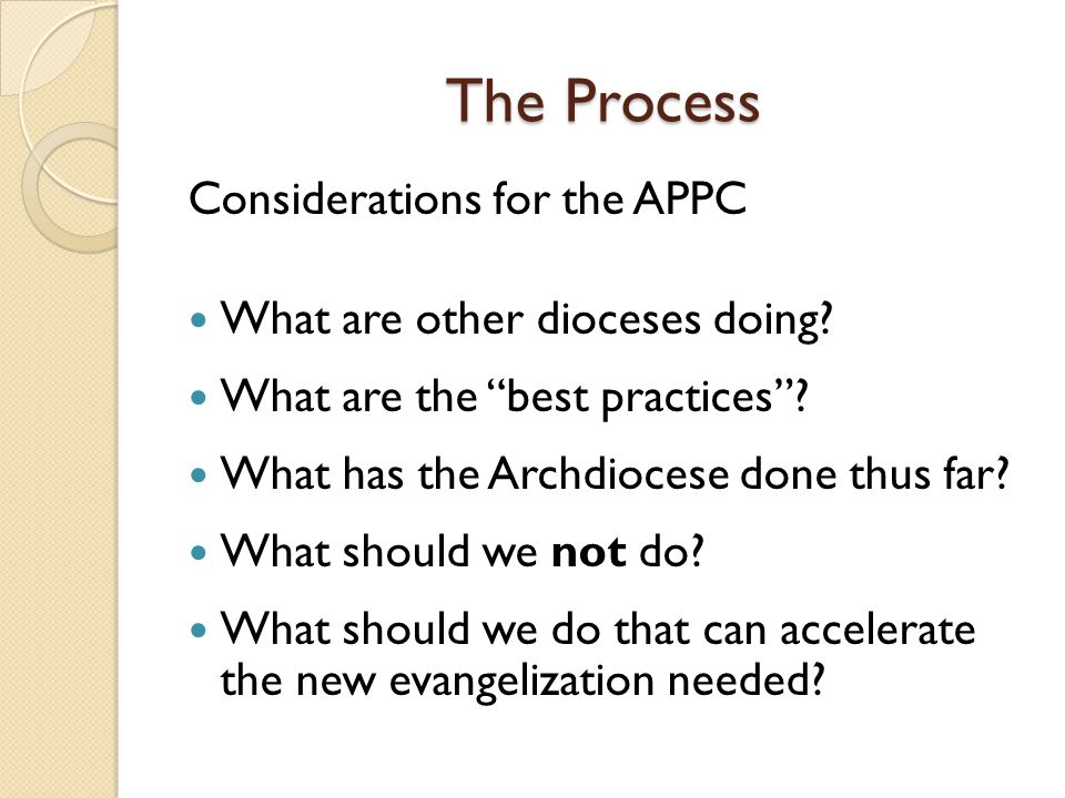 The Process Considerations for the APPC What are other dioceses doing.