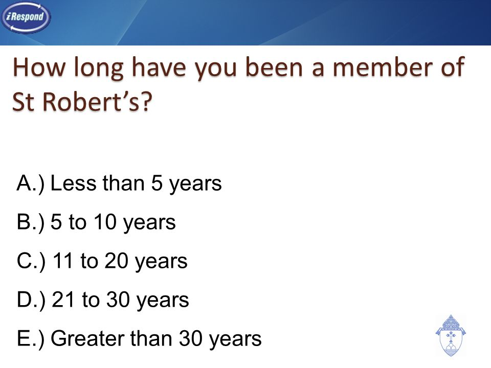 How long have you been a member of St Robert's.