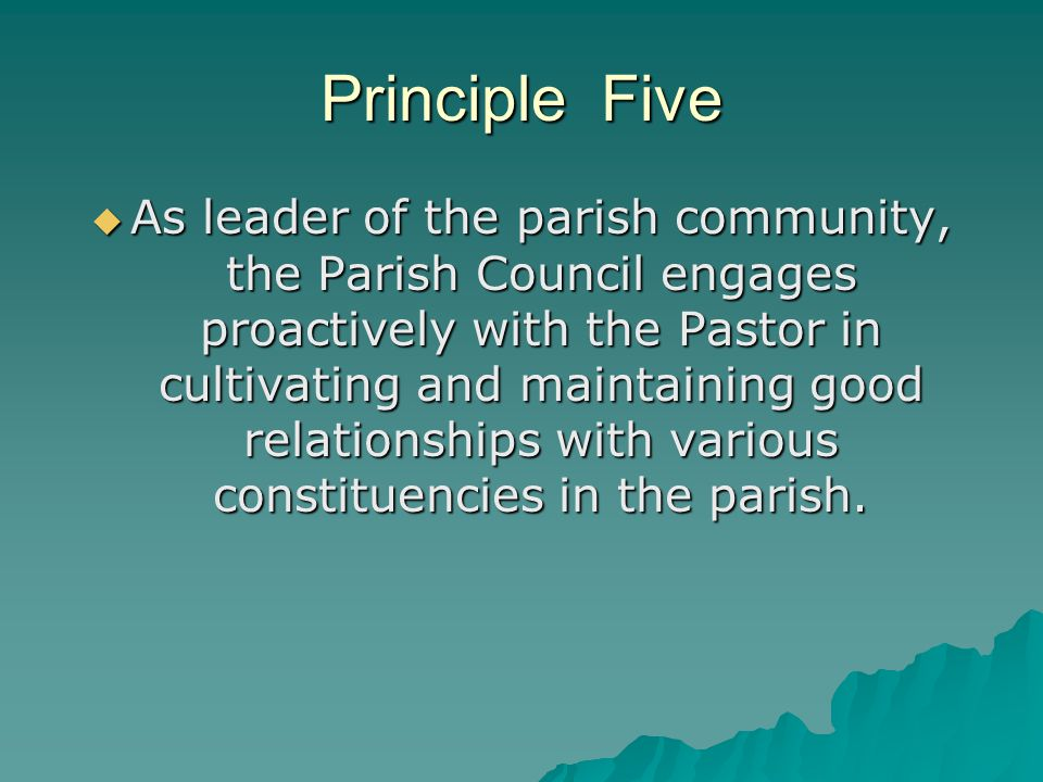Principle Five  As leader of the parish community, the Parish Council engages proactively with the Pastor in cultivating and maintaining good relatio