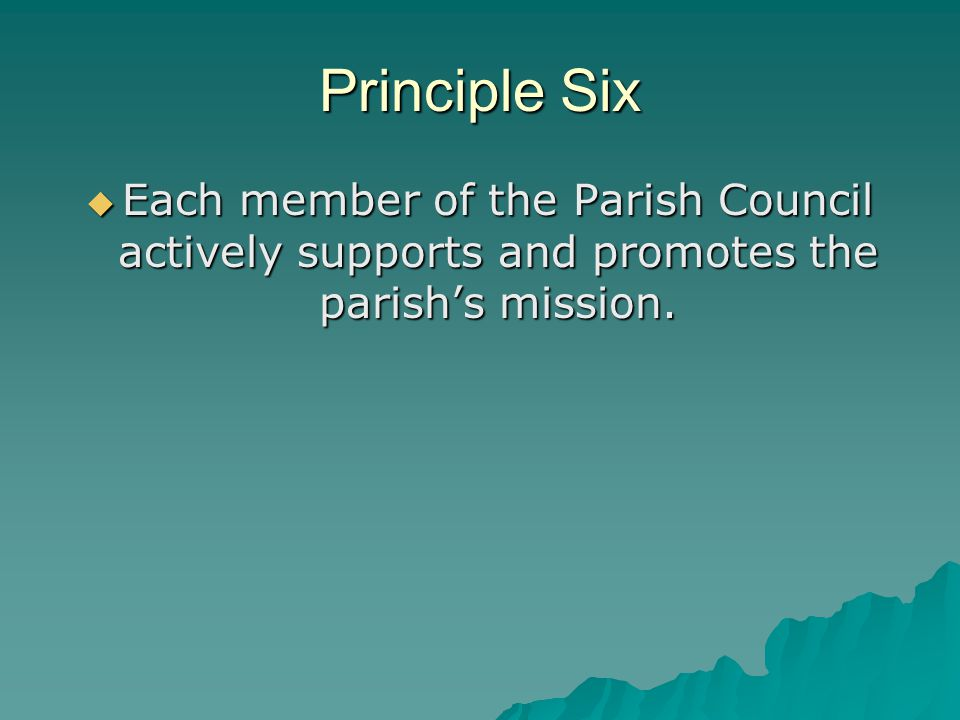 Principle Six  Each member of the Parish Council actively supports and promotes the parish's mission.