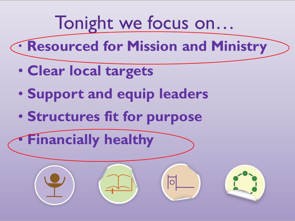 Tonight we focus on… Resourced for Mission and Ministry Clear local targets Support and equip leaders Structures fit for purpose Financially healthy Resourced for Mission and Ministry Clear local targets Support and equip leaders Structures fit for purpose Financially healthy Tonight we focus on…