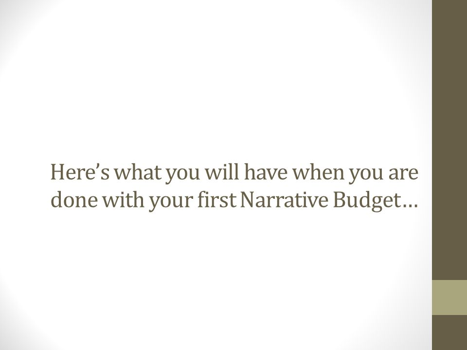 Here's what you will have when you are done with your first Narrative Budget…