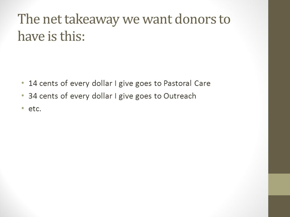 The net takeaway we want donors to have is this: 14 cents of every dollar I give goes to Pastoral Care 34 cents of every dollar I give goes to Outreach etc.