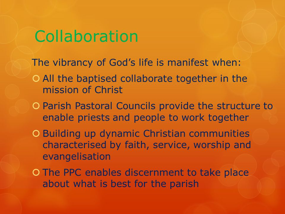 Collaboration The vibrancy of God's life is manifest when:  All the baptised collaborate together in the mission of Christ  Parish Pastoral Councils provide the structure to enable priests and people to work together  Building up dynamic Christian communities characterised by faith, service, worship and evangelisation  The PPC enables discernment to take place about what is best for the parish