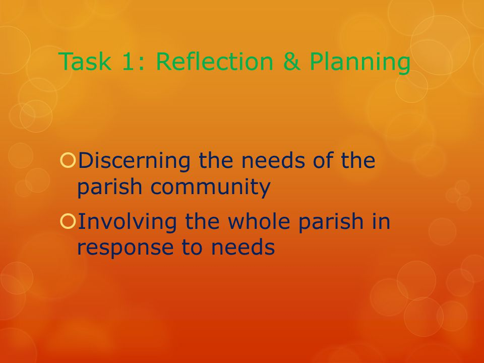 Task 1: Reflection & Planning  Discerning the needs of the parish community  Involving the whole parish in response to needs