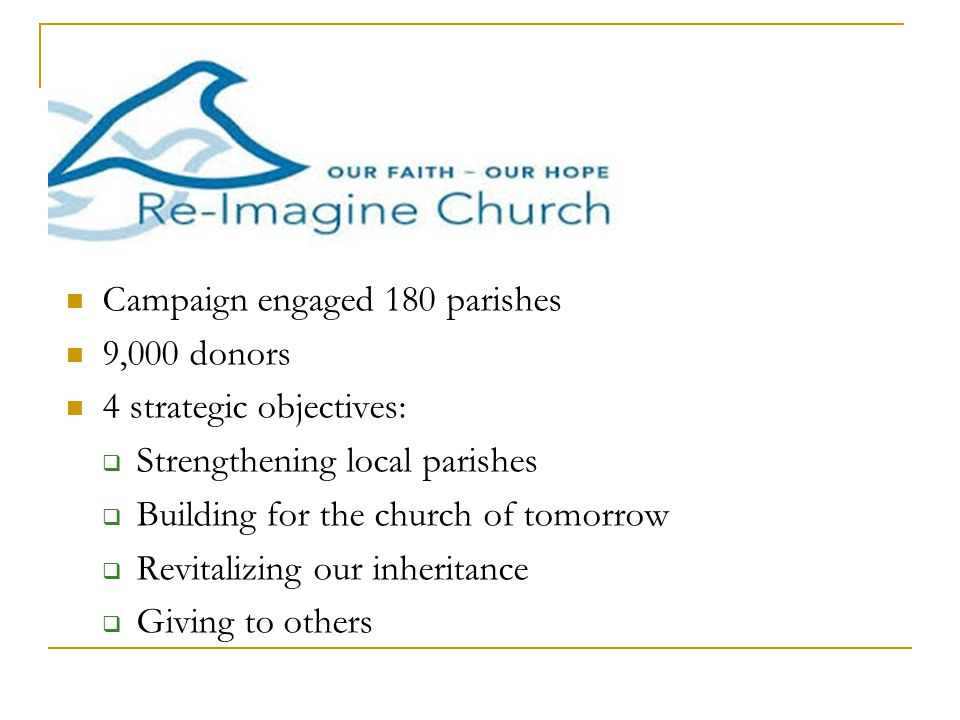 Campaign engaged 180 parishes 9,000 donors 4 strategic objectives:  Strengthening local parishes  Building for the church of tomorrow  Revitalizing our inheritance  Giving to others