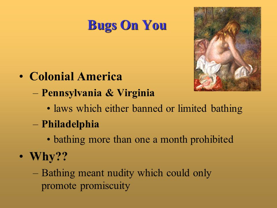 Bugs On You Colonial America –Pennsylvania & Virginia laws which either banned or limited bathing –Philadelphia bathing more than one a month prohibit