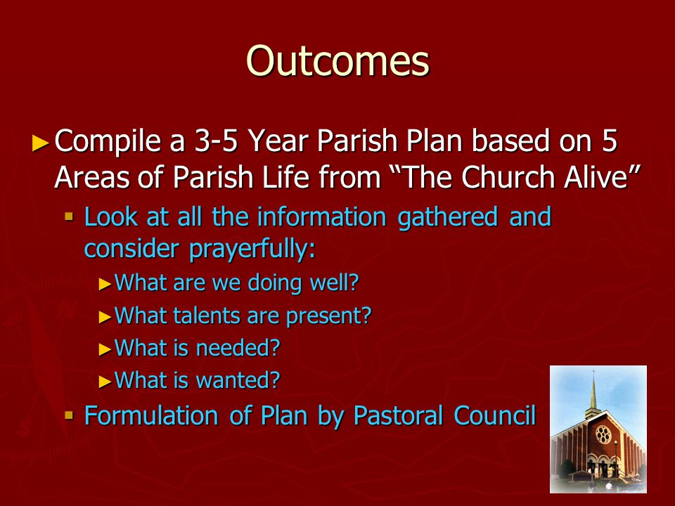 Outcomes ►C►C►C►Compile a 3-5 Year Parish Plan based on 5 Areas of Parish Life from The Church Alive LLLLook at all the information gathered and consider prayerfully: ►W►W►W►What are we doing well.