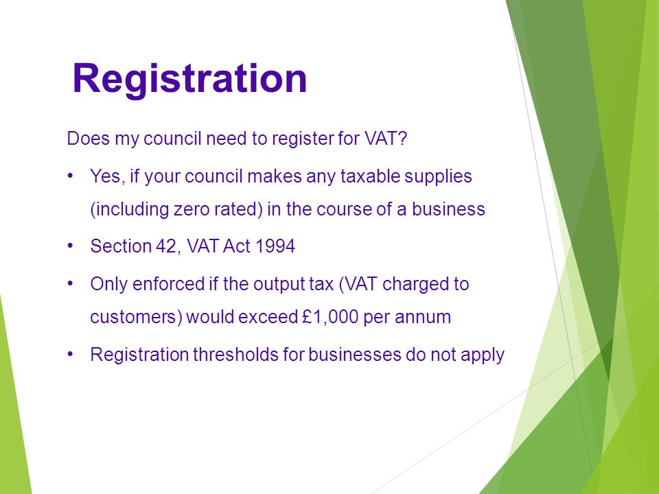 Registration Does my council need to register for VAT.