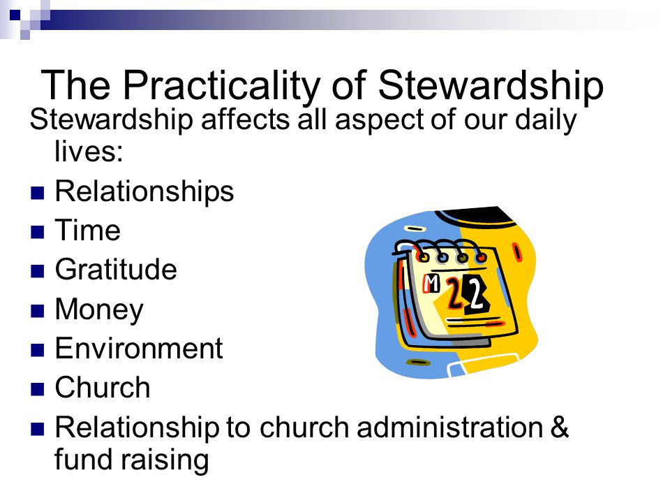 The Practicality of Stewardship Stewardship affects all aspect of our daily lives: Relationships Time Gratitude Money Environment Church Relationship to church administration & fund raising
