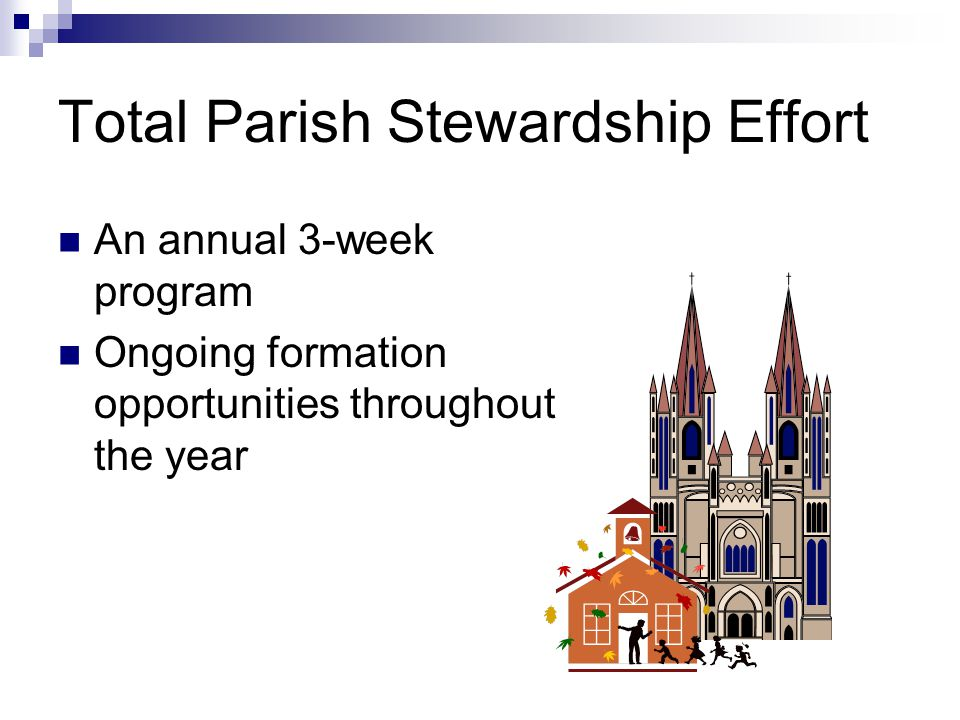 Total Parish Stewardship Effort An annual 3-week program Ongoing formation opportunities throughout the year