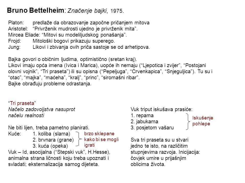 """Bruno Bettelheim: Značenje bajki, 1975. Platon:predlaže da obrazovanje započne pričanjem mitova Aristotel:""""Privrženik mudrosti ujedno je privrženik mi"""