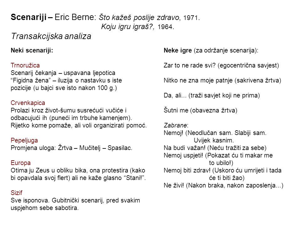 Scenariji – Eric Berne: Što kažeš poslije zdravo, 1971. Koju igru igraš?, 1964. Transakcijska analiza Neke igre (za održanje scenarija): Zar to ne rad