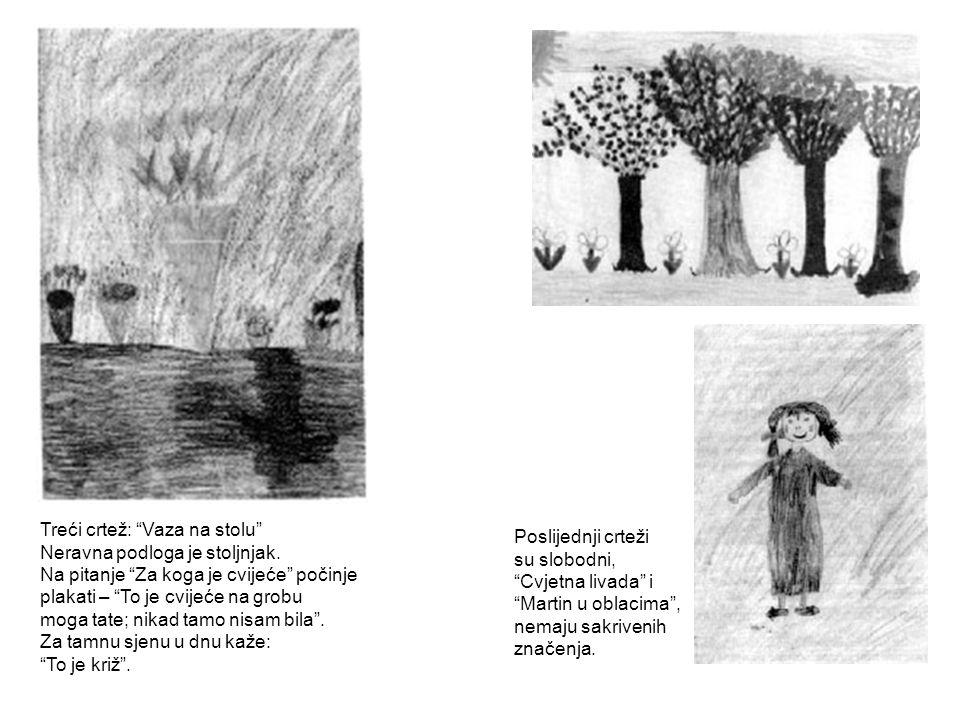 """Treći crtež: """"Vaza na stolu"""" Neravna podloga je stoljnjak. Na pitanje """"Za koga je cvijeće"""" počinje plakati – """"To je cvijeće na grobu moga tate; nikad"""