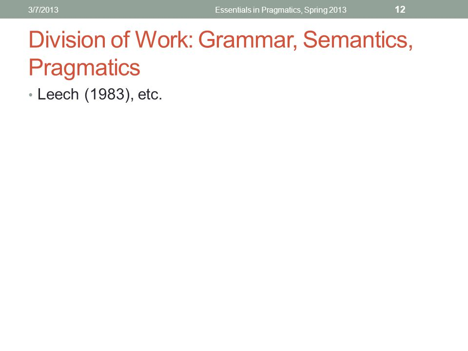 Division of Work: Grammar, Semantics, Pragmatics Leech (1983), etc.