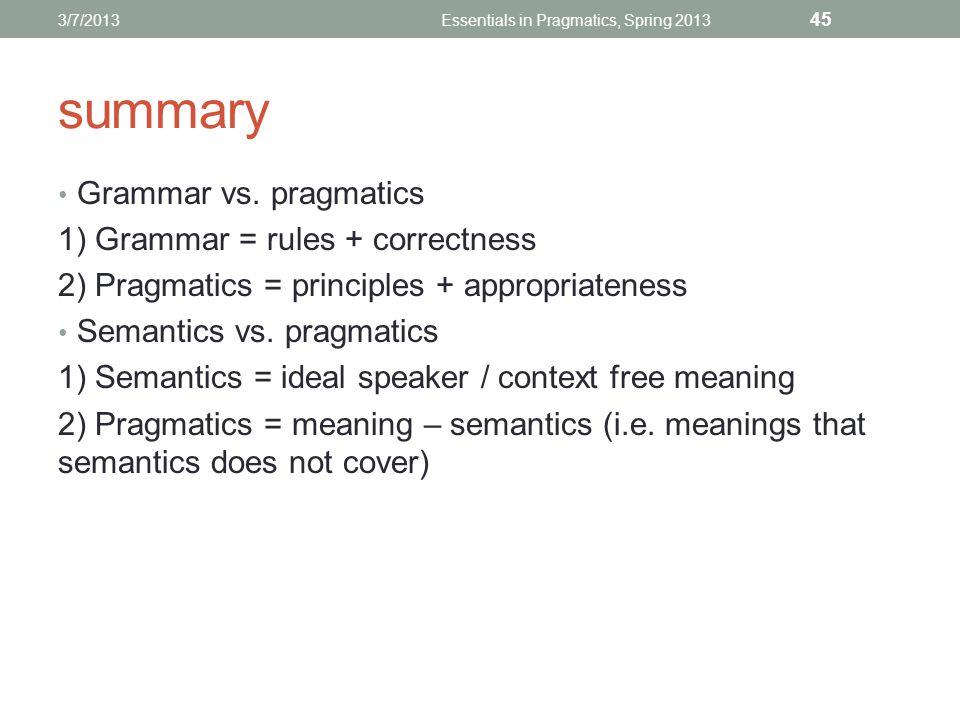 summary Grammar vs.