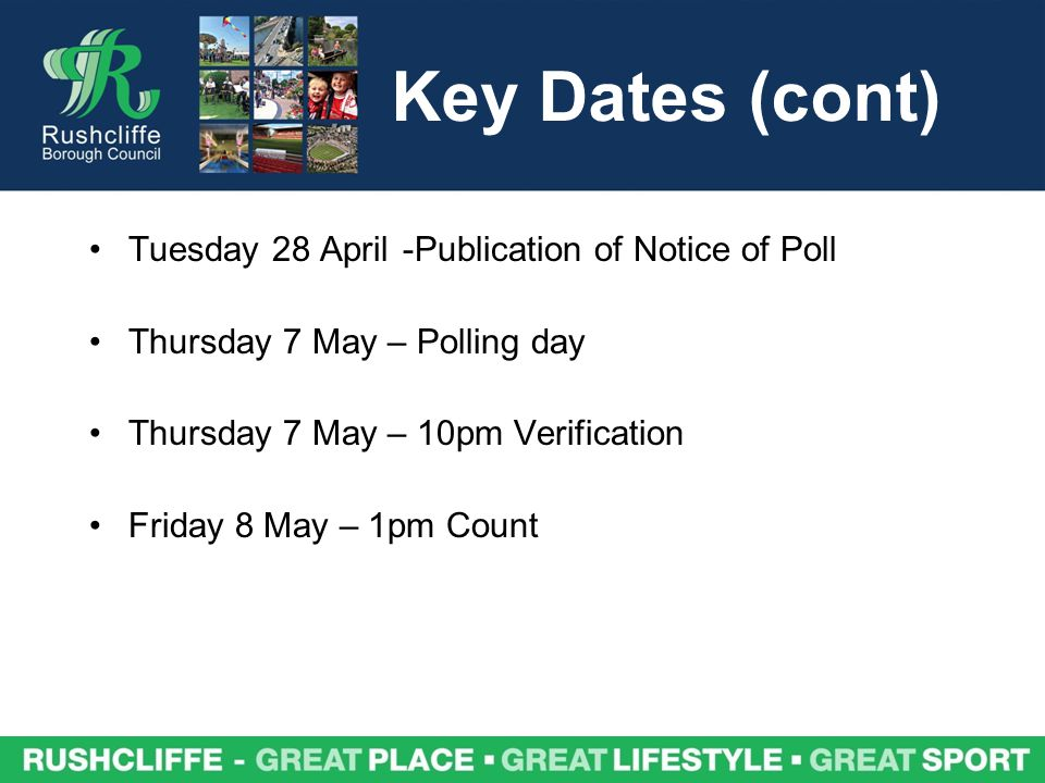 Key Dates (cont) Tuesday 28 April-Publication of Notice of Poll Thursday 7 May – Polling day Thursday 7 May – 10pm Verification Friday 8 May – 1pm Count