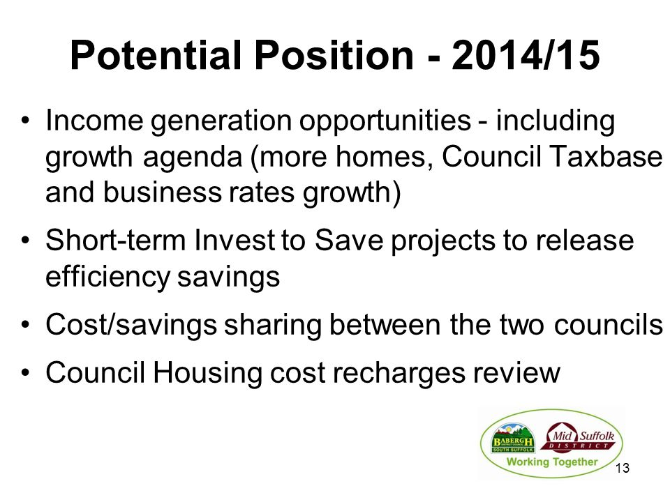 Potential Position - 2014/15 Income generation opportunities - including growth agenda (more homes, Council Taxbase and business rates growth) Short-t