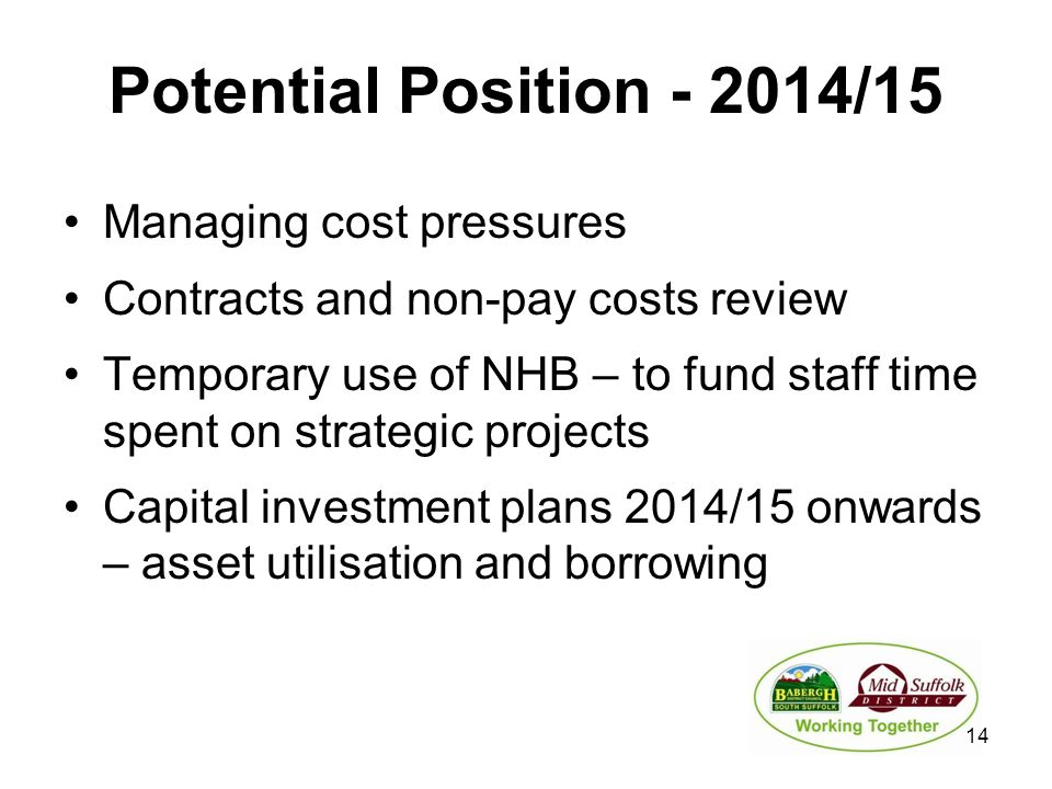 Potential Position - 2014/15 Managing cost pressures Contracts and non-pay costs review Temporary use of NHB – to fund staff time spent on strategic projects Capital investment plans 2014/15 onwards – asset utilisation and borrowing 14