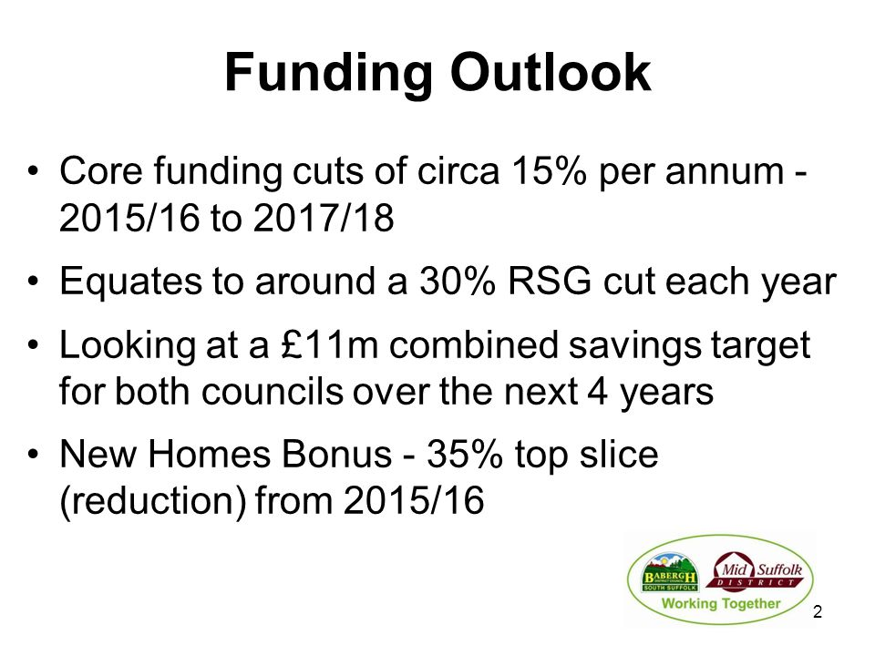 Funding Outlook Core funding cuts of circa 15% per annum - 2015/16 to 2017/18 Equates to around a 30% RSG cut each year Looking at a £11m combined sav