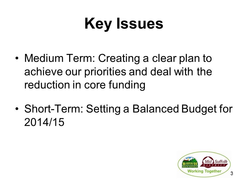 Key Issues Medium Term: Creating a clear plan to achieve our priorities and deal with the reduction in core funding Short-Term: Setting a Balanced Bud