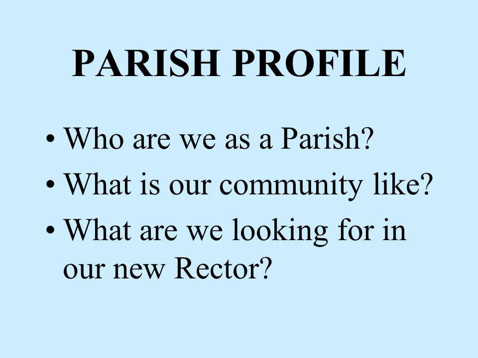Ten Critical Steps STEP THREE Review of Entire Process… Everyone involved -- Vestry, Search Committee, Interim Priest, Calling Consultant and Deployment Officer meet together STEP FOUR Writing a Parish Profile and CDO Parish Search Request… (following slides provide some detail)
