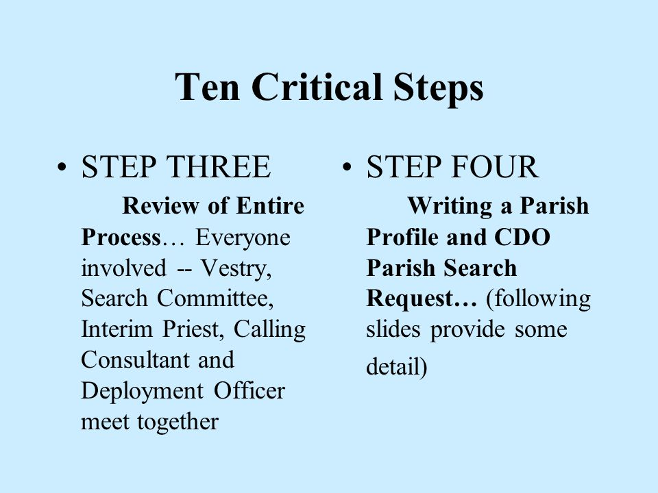 Ten Critical Steps STEP ONE… Initiating Events The Calling Process begins with the announcement of resignation or retirement.