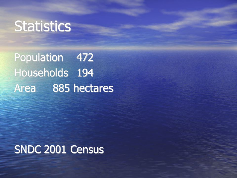 Statistics Population 472 Households 194 Area 885 hectares SNDC 2001 Census