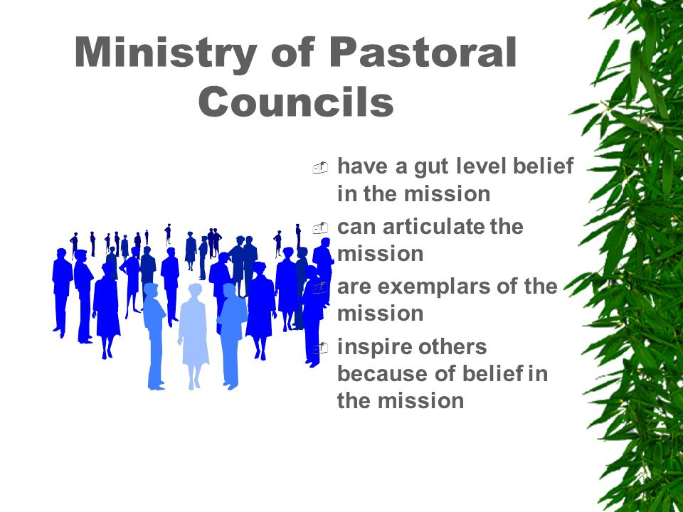 Ministry of Pastoral Councils  have a gut level belief in the mission  can articulate the mission  are exemplars of the mission  inspire others because of belief in the mission