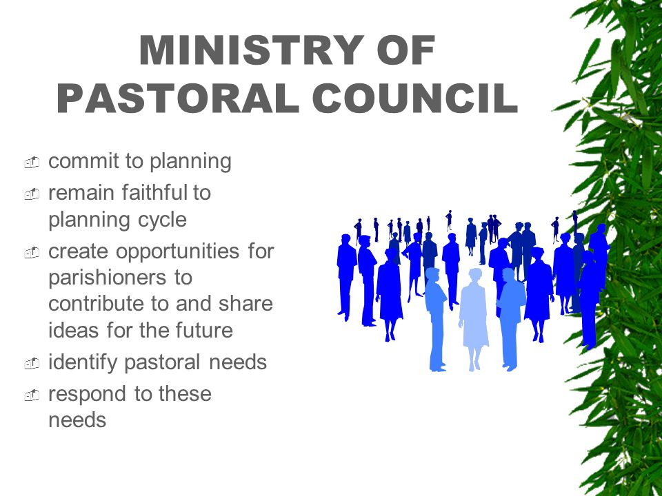 MINISTRY OF PASTORAL COUNCIL  commit to planning  remain faithful to planning cycle  create opportunities for parishioners to contribute to and share ideas for the future  identify pastoral needs  respond to these needs