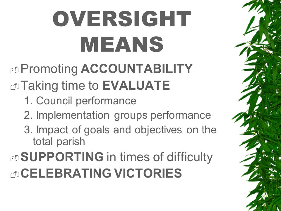 OVERSIGHT MEANS  Promoting ACCOUNTABILITY  Taking time to EVALUATE 1.