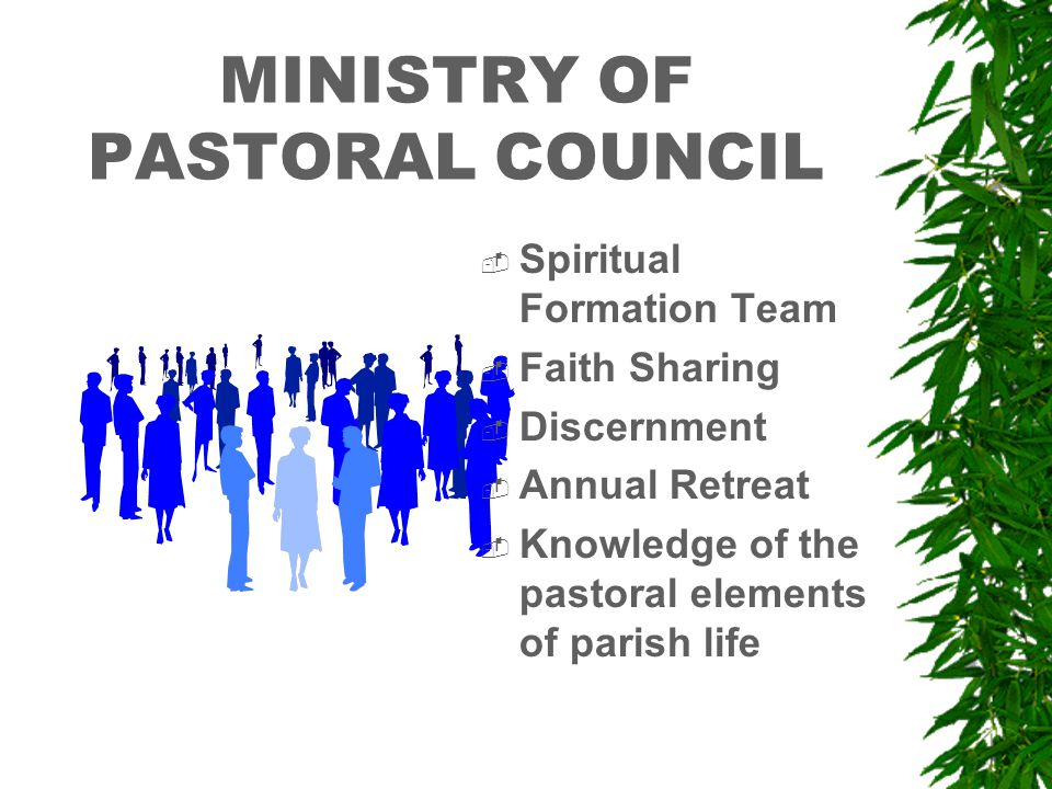 MINISTRY OF PASTORAL COUNCIL  Spiritual Formation Team  Faith Sharing  Discernment  Annual Retreat  Knowledge of the pastoral elements of parish life