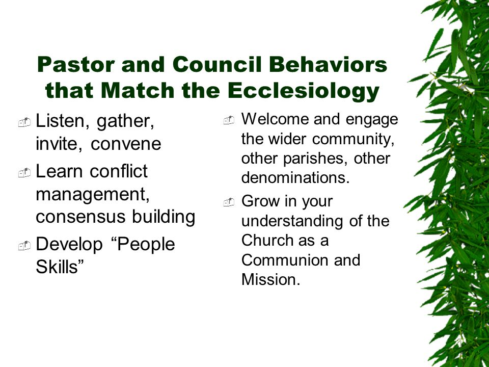 Pastor and Council Behaviors that Match the Ecclesiology  Listen, gather, invite, convene  Learn conflict management, consensus building  Develop People Skills  Welcome and engage the wider community, other parishes, other denominations.
