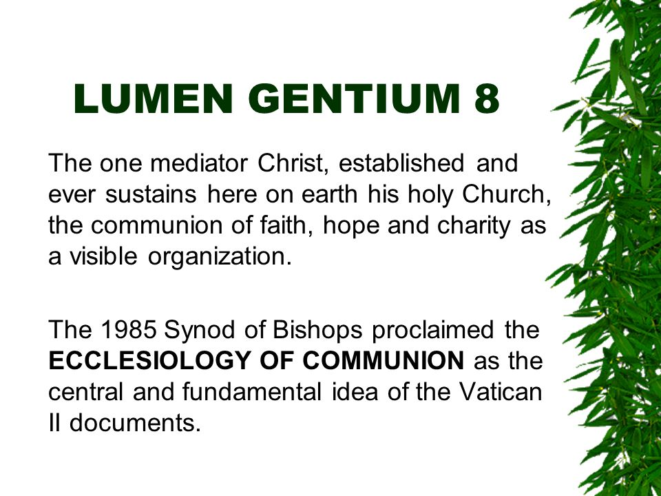 LUMEN GENTIUM 8 The one mediator Christ, established and ever sustains here on earth his holy Church, the communion of faith, hope and charity as a visible organization.