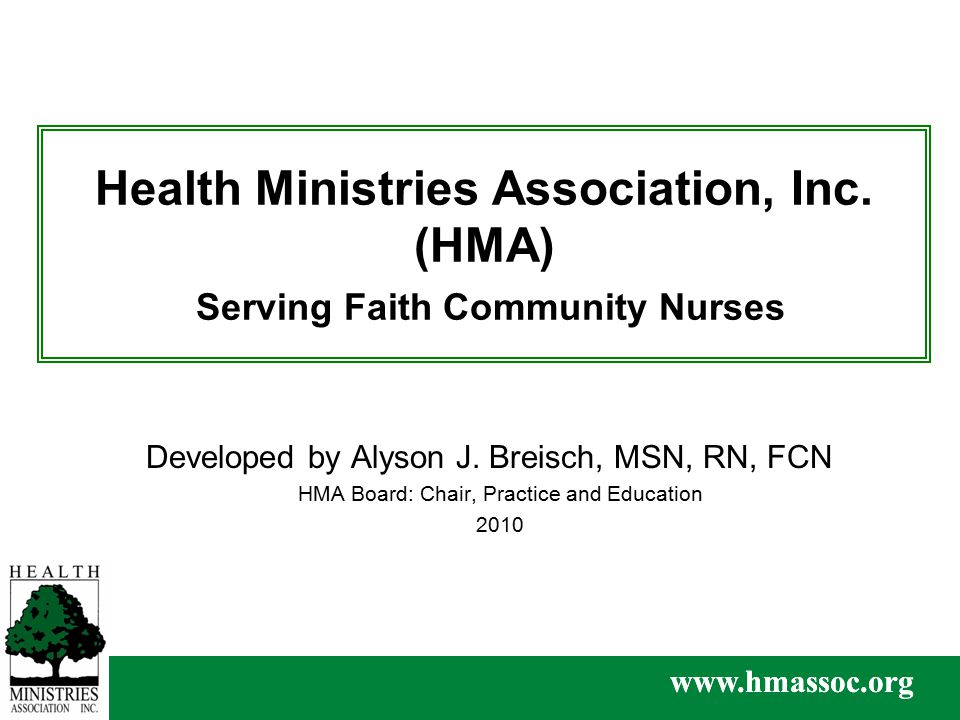 www.hmassoc.org Health Ministries Association, Inc.