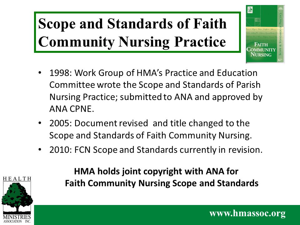 www.hmassoc.org 1998: Work Group of HMA's Practice and Education Committee wrote the Scope and Standards of Parish Nursing Practice; submitted to ANA and approved by ANA CPNE.