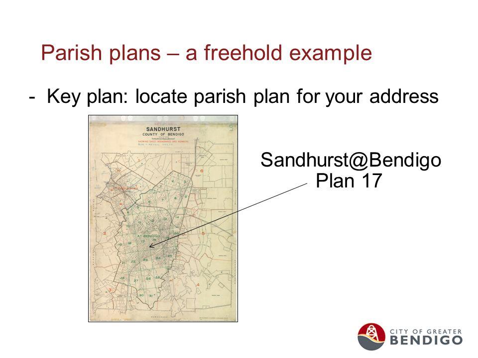 Parish plans – a freehold example -Key plan: locate parish plan for your address - Sandhurst@Bendigo - Plan 17