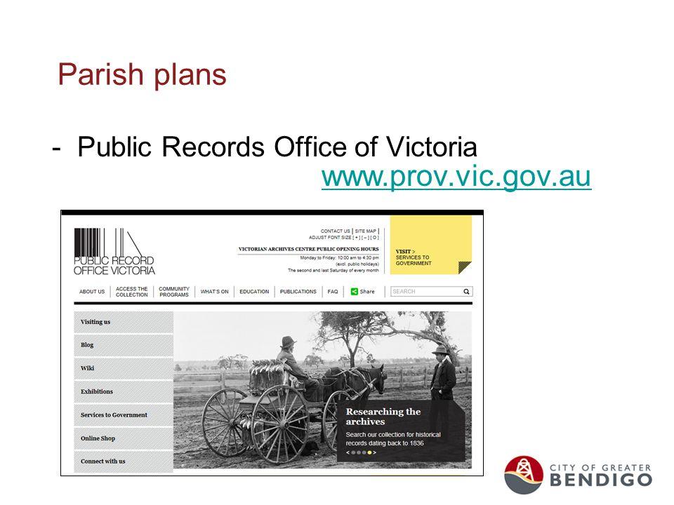 Parish plans -Public Records Office of Victoria www.prov.vic.gov.au www.prov.vic.gov.au