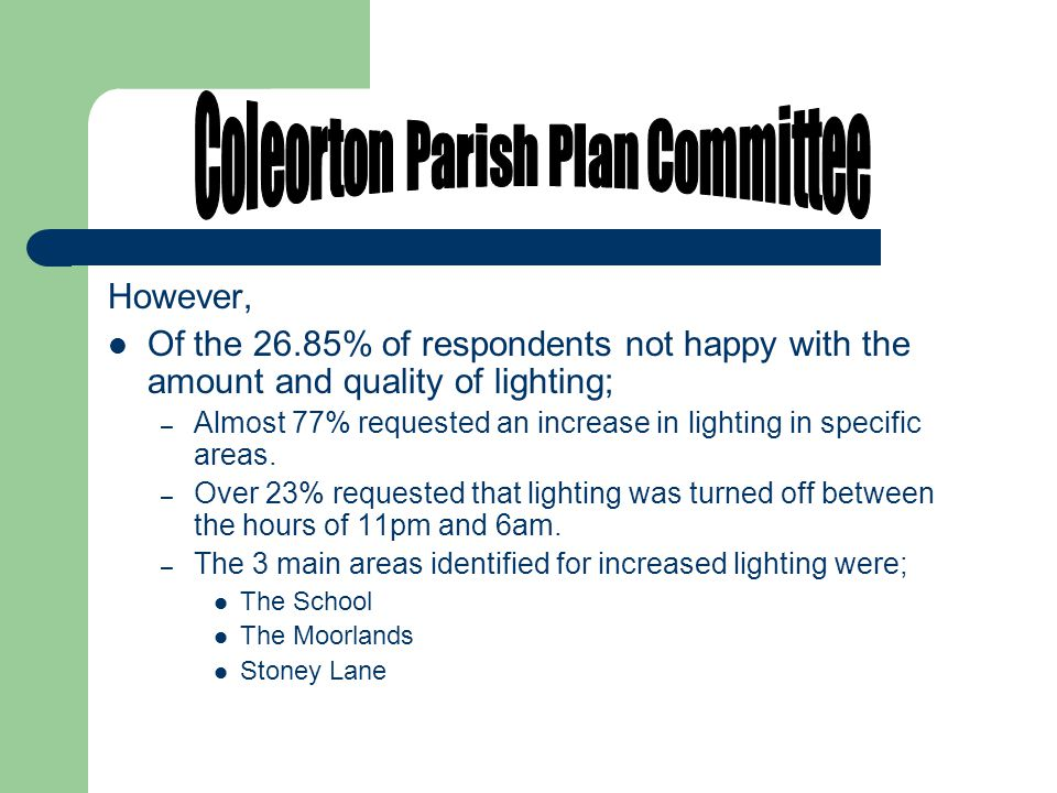 However, Of the 26.85% of respondents not happy with the amount and quality of lighting; – Almost 77% requested an increase in lighting in specific areas.