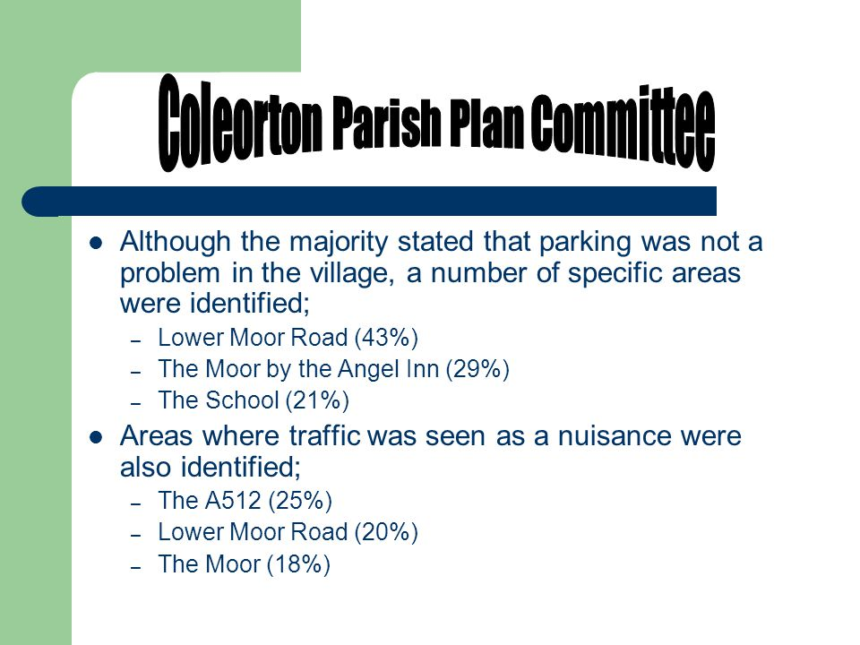 Although the majority stated that parking was not a problem in the village, a number of specific areas were identified; – Lower Moor Road (43%) – The Moor by the Angel Inn (29%) – The School (21%) Areas where traffic was seen as a nuisance were also identified; – The A512 (25%) – Lower Moor Road (20%) – The Moor (18%)