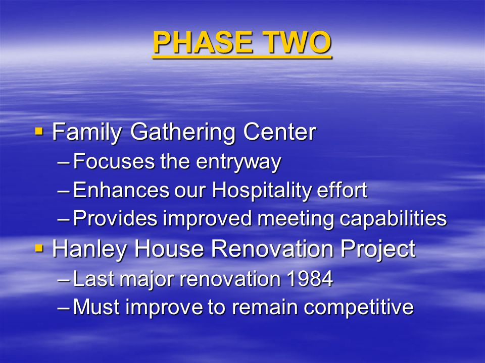 Family Gathering Center Why Do We Need It.