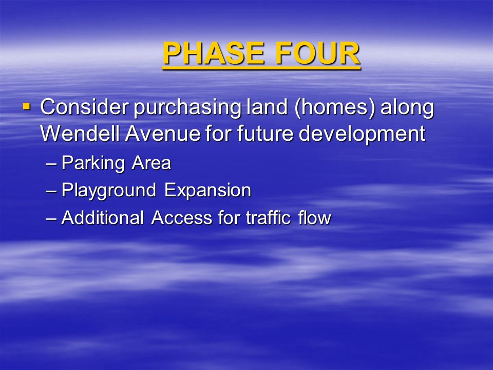 PHASE FOUR PHASE FOUR  Consider purchasing land (homes) along Wendell Avenue for future development –Parking Area –Playground Expansion –Additional Access for traffic flow